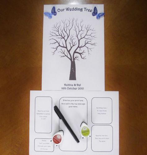 Wedding Fingerprint guest book Tree Personalised  Guest Book with a difference - Butterflies